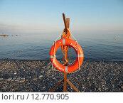 Купить «Оранжевый спасательный круг на галечном пляже и спокойное голубое море, курорт Имеретинский, Адлер», фото № 12770905, снято 15 июля 2015 г. (c) DiS / Фотобанк Лори