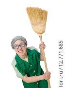 Купить «Woman with sweeping brush isolated on white», фото № 12771685, снято 17 апреля 2015 г. (c) Elnur / Фотобанк Лори