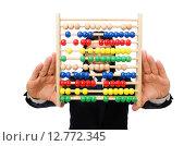Купить «Funny man with calculator and abacus», фото № 12772345, снято 7 января 2015 г. (c) Elnur / Фотобанк Лори