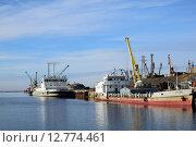 Купить «Вид на порт в Дудинке при выходе судна из реки Дудинка в реку Енисей», фото № 12774461, снято 25 сентября 2015 г. (c) Николай Новиков / Фотобанк Лори