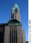 Здание железнодорожного вокзала в Хельсинки. Башня с часами (2015 год). Стоковое фото, фотограф Данилова Наталья / Фотобанк Лори