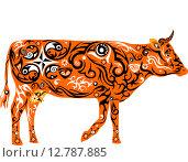 Орнаментальная оранжевая корова. Стоковая иллюстрация, иллюстратор Буркина Светлана / Фотобанк Лори