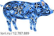 Орнаментальная синяя свинья. Стоковая иллюстрация, иллюстратор Буркина Светлана / Фотобанк Лори