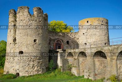 Копопрская крепость. Мост и воротные башни крупным планом