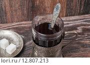 Купить «Стакан чая в подстаканнике», фото № 12807213, снято 25 сентября 2015 г. (c) Алёшина Оксана / Фотобанк Лори
