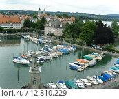 Линдау, Бавария, Германия, вид на пристань с яхтами (2008 год). Стоковое фото, фотограф Anna Berglef / Фотобанк Лори