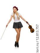 Купить «Woman playing violin isolated on white», фото № 12813757, снято 20 октября 2014 г. (c) Elnur / Фотобанк Лори