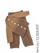 Купить «Вязаный шерстяной детский костюмчик», фото № 12824837, снято 7 октября 2015 г. (c) Наталья Осипова / Фотобанк Лори