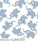 Купить «Seamless Funny Cartoon Elephant», иллюстрация № 12843813 (c) PantherMedia / Фотобанк Лори