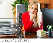 Tired girl in office. Стоковое фото, фотограф Яков Филимонов / Фотобанк Лори