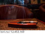 Купить «Сигара тлеет в пепельнице», фото № 12853169, снято 13 октября 2008 г. (c) Константин Лабунский / Фотобанк Лори