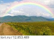 Купить «Радуга над горами Армении», фото № 12853489, снято 4 июля 2013 г. (c) Евгений Ткачёв / Фотобанк Лори