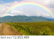 Радуга над горами Армении, фото № 12853489, снято 4 июля 2013 г. (c) Евгений Ткачёв / Фотобанк Лори