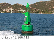 Купить «Зеленый буй с солнечной батареей», фото № 12866113, снято 2 июля 2015 г. (c) EugeneSergeev / Фотобанк Лори