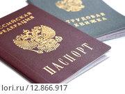 Купить «Паспорт и трудовая книжка гражданина Российской Федерации», фото № 12866917, снято 13 октября 2015 г. (c) Сергеев Валерий / Фотобанк Лори
