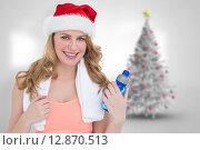 Купить «Composite image of festive fit blonde holding bottle of water», фото № 12870513, снято 23 октября 2018 г. (c) Wavebreak Media / Фотобанк Лори