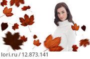 Купить «Composite image of pretty brunette in white jumper posing», фото № 12873141, снято 20 февраля 2019 г. (c) Wavebreak Media / Фотобанк Лори