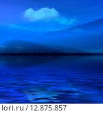 Купить «Голубой туман на море. 3d графика», фото № 12875857, снято 18 февраля 2018 г. (c) ElenArt / Фотобанк Лори
