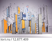 Купить «Composite image of side view of businessman walking with briefcase over white background», фото № 12877409, снято 21 сентября 2019 г. (c) Wavebreak Media / Фотобанк Лори