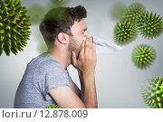 Купить «Composite image of close up side view of man blowing nose», фото № 12878009, снято 19 августа 2018 г. (c) Wavebreak Media / Фотобанк Лори