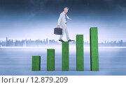 Купить «Composite image of side view of businessman walking with briefcase over white background», фото № 12879209, снято 21 сентября 2019 г. (c) Wavebreak Media / Фотобанк Лори