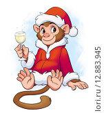 С Новым годом Обезьяны. Стоковая иллюстрация, иллюстратор Татьяна Харитонова / Фотобанк Лори
