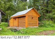 Купить «Традиционная русская деревянная баня в деревне в летний солнечный день», фото № 12887077, снято 26 июля 2015 г. (c) FotograFF / Фотобанк Лори
