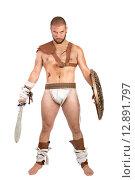 Купить «Gladiator posing with shield and sword isolated in white», фото № 12891797, снято 25 мая 2019 г. (c) PantherMedia / Фотобанк Лори