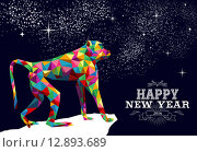 Купить «Happy chinese new year monkey 2016 triangle color», иллюстрация № 12893689 (c) PantherMedia / Фотобанк Лори