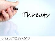 Купить «Threats text concept», фото № 12897513, снято 18 февраля 2019 г. (c) PantherMedia / Фотобанк Лори