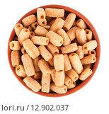 Купить «Сухарики в коричневой миске, изолированно на белом», фото № 12902037, снято 22 августа 2015 г. (c) Литвяк Игорь / Фотобанк Лори