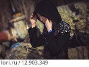 Портрет азиатской девушки в модном пальто. Стоковое фото, фотограф Artem Kotelnikov / Фотобанк Лори