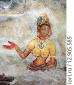 Купить «Sigiriya maiden, древняя фреска на каменной стене, Шри Ланка», фото № 12905585, снято 20 марта 2015 г. (c) Михаил Коханчиков / Фотобанк Лори