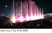 Купить «Французский театр воды Aquatic демонстрирует ночное лазерное шоу фонтанов в развлекательном комплексе Сочи Парк, Краснодарский край, Россия», видеоролик № 12910445, снято 31 июля 2015 г. (c) Игорь Долгов / Фотобанк Лори