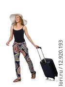 Купить «Woman ready for summer travel isolated on white», фото № 12920193, снято 18 июля 2015 г. (c) Elnur / Фотобанк Лори