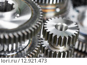 Купить «metal cog wheel gears», фото № 12921473, снято 18 мая 2015 г. (c) Дмитрий Калиновский / Фотобанк Лори