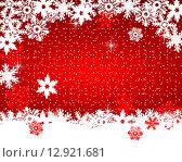 Красный фон со снежинками,вектор. Стоковая иллюстрация, иллюстратор Мастепанов Павел / Фотобанк Лори