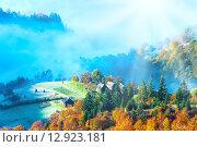 Купить «Autumn misty morning mountainside», фото № 12923181, снято 15 октября 2010 г. (c) Юрий Брыкайло / Фотобанк Лори