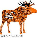 Оранжевый орнаментальный силуэт лося. Стоковая иллюстрация, иллюстратор Буркина Светлана / Фотобанк Лори
