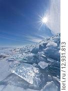 Купить «Байкал зимой. Нагромождение ледовых торосов у мыса Хобой», фото № 12931813, снято 8 марта 2015 г. (c) Виктория Катьянова / Фотобанк Лори