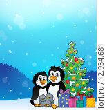 Купить «Penguin family Christmas theme 3», иллюстрация № 12934681 (c) PantherMedia / Фотобанк Лори