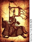 Монгольский знаменосец. Стоковая иллюстрация, иллюстратор Денис Цыренжапов / Фотобанк Лори