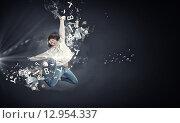 Купить «Dancer girl in jump», фото № 12954337, снято 27 июня 2019 г. (c) Sergey Nivens / Фотобанк Лори