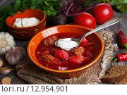 Купить «Вкусный борщ в тарелке на столе со свежими овощами», фото № 12954901, снято 26 октября 2015 г. (c) Надежда Мишкова / Фотобанк Лори