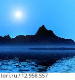 Купить «Ночная дымка над морем, горы», иллюстрация № 12958557 (c) ElenArt / Фотобанк Лори