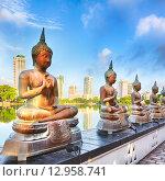 Купить «Храм Seema Malaka на озере Бейра. Коломбо, Шри-Ланка. Панорама», фото № 12958741, снято 22 сентября 2015 г. (c) Ольга Хорошунова / Фотобанк Лори
