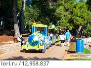 Купить «Туристический прогулочный поезд Пореч, Истрия, Хорватия», фото № 12958837, снято 4 августа 2014 г. (c) Татьяна Кахилл / Фотобанк Лори
