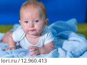 Портрет маленького ребенка на синем полотенце. Стоковое фото, фотограф Евгений Чернышов / Фотобанк Лори