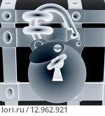 Купить «Висячий замок с ключом на окованном сундуке крупным планом», иллюстрация № 12962921 (c) Guru3d / Фотобанк Лори