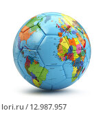 Купить «World cup concept. Soccer or football ball with world map.», фото № 12987957, снято 20 октября 2018 г. (c) Maksym Yemelyanov / Фотобанк Лори